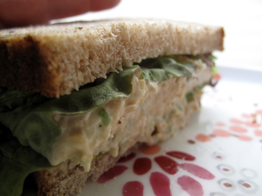 Vegan Chickpea of the Sea Sandwich    1 can of chickpeas, drained and rinsed  1/4 cup mayonnaise  1 tablespoon whole grain mustard  1 1/2 tablespoons umebochi vinegar  2 teaspoons celery seeds  1/4 cup chopped celery (about one rib)  2 tablespoons sliced scallions (about two scallions)  a few turns of the peppermill  a pinch of cayenne pepper (optional)
