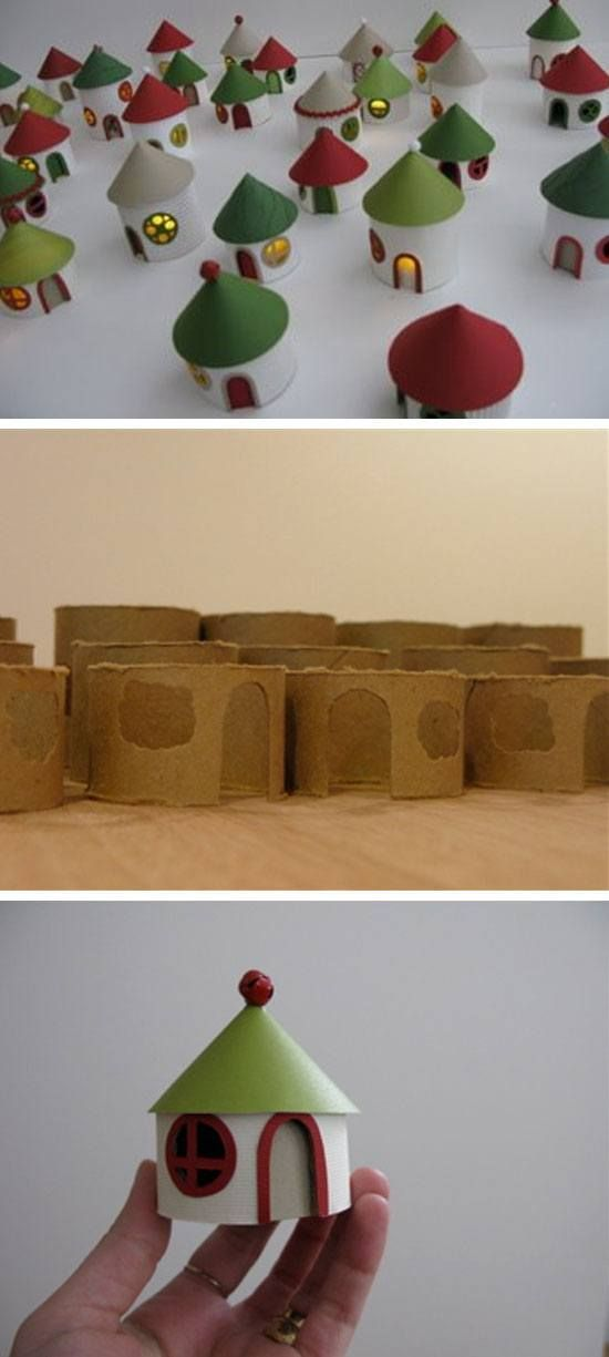 DIY Christmas Village from Toliet Rolls | Click for 25 DIY Christmas Crafts for Kids to Make | DIY Christmas Decorations for Kids to Make