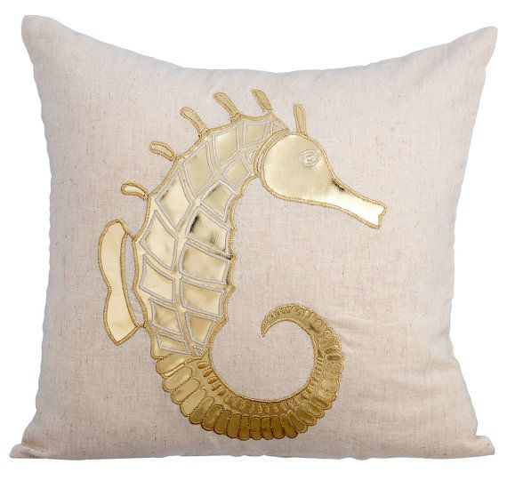 Gold Sea Horse - 16x16 Gold Leather Applique Natural Linen Pillow Cover.