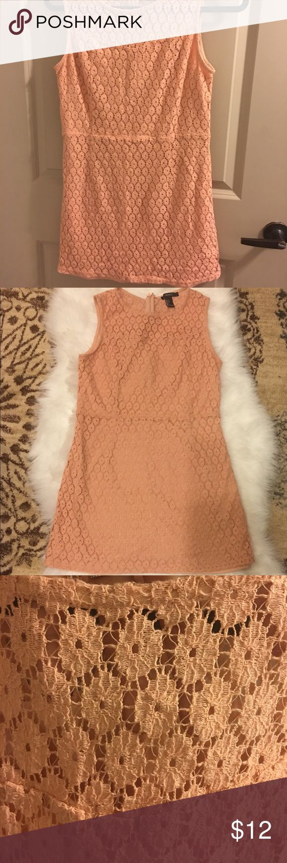 Forever 21 ~~~ 🍑 Peach Lace Dress (L) Pre-owned. An item that has been used or worn previously.  Impeccable and next to new :) { Smoke  / Pat free Home }  Length :29 Inch. measurement : Included in the pictures (Run small ) 🚫Stretchy Material  ⚡️Fast shipping ! 🧐 No trade ! Forever 21 Dresses Mini