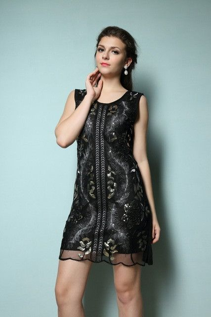 Great Gatsby Inspired Dress With Stunning Sequins Double Layered Mesh Embroidery O-neck Flapper Vintage 1920s Dress 89012