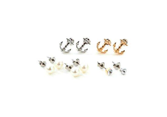 Ribbon Cotton Pearl Piercings http://www.jnize.com/en/article/100000131/
