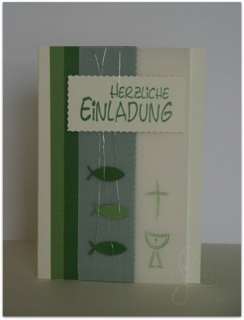 Konfirmationskarte Kommunion Einladung   Fische Kreuz Kelch Herzlicheeinladung Grün