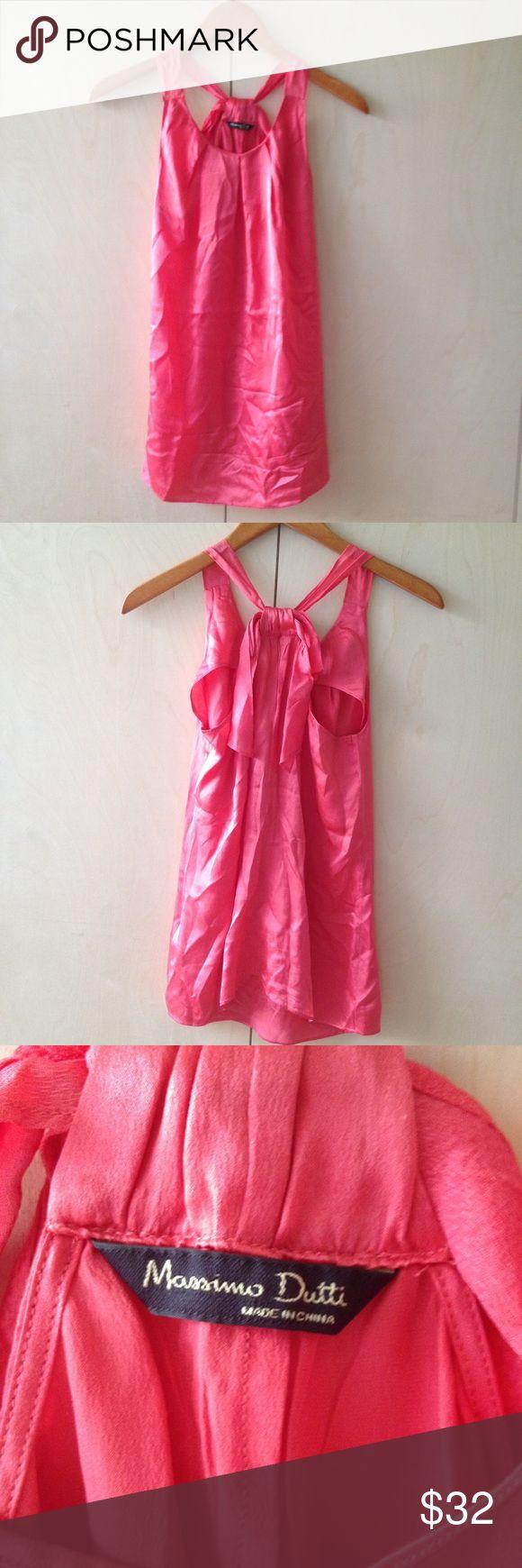 Massimo Dutti hot pink salmon 100% silk halter XS Massimo Dutti hot pink salmon 100% mulberry silk halter XS Massimo Dutti Tops Blouses