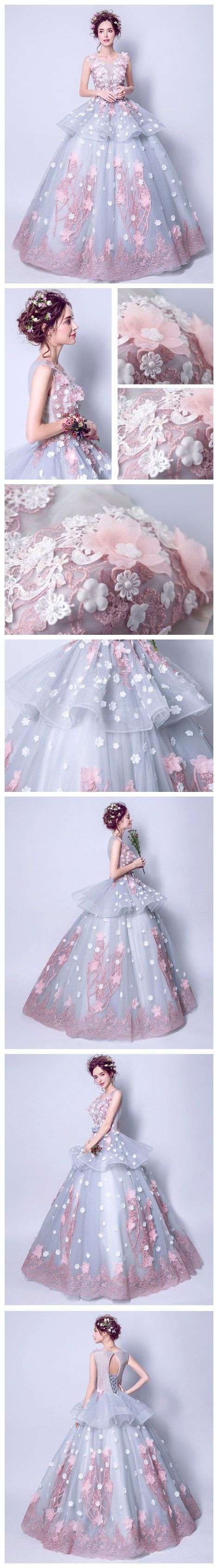 CHIC A-LINE BALL GOWN SCOOP BLUE APPLIQUE SLEEVELESS PROM DRESS EVENING GOWNS