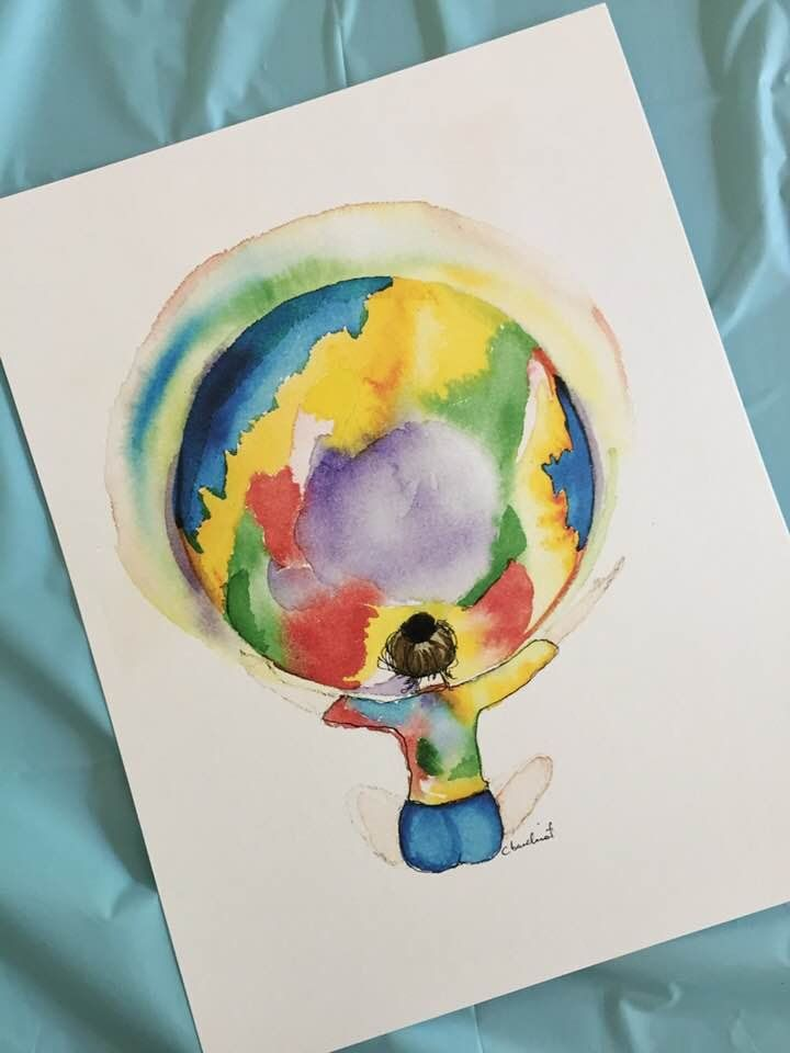 Prophetic Art Print Girl With Rainbow World Watercolor Print