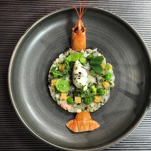 From Chef Tom Kitchin: Tartare of Tobermory langoustine, preserved lemon & peas @TheKitchin