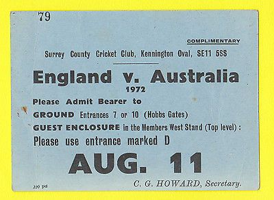 Rare #cricket #ticket - #england v australia - kennington  oval  -  1972,  View more on the LINK: 	http://www.zeppy.io/product/gb/2/252135011800/