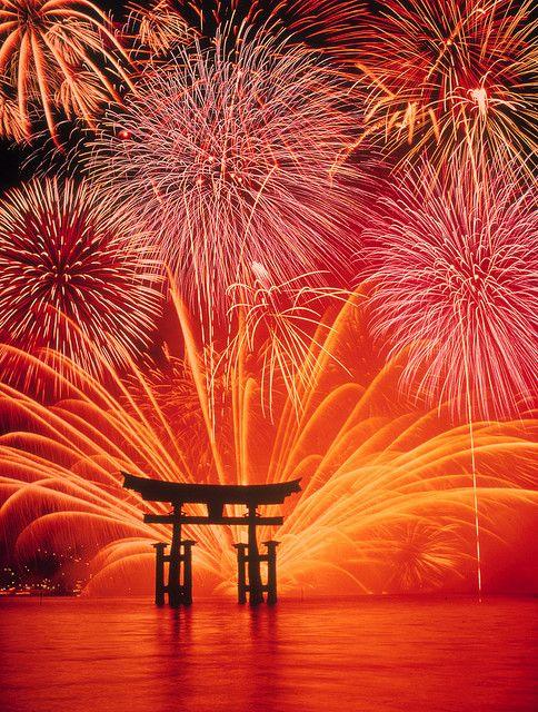 Fireworks over Floating Torii Gate, Itsuku-shima Shrine, Miyajima, Hiroshima, Japan