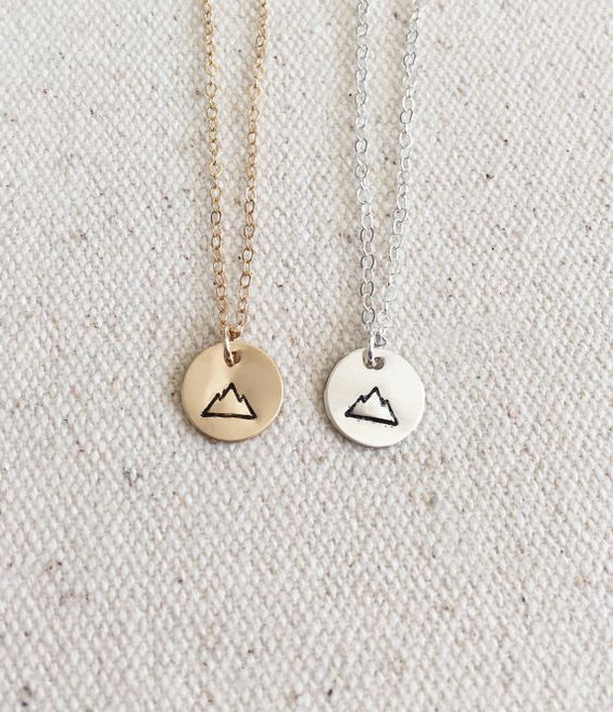 Tiny Mountain Necklace - Everyday Necklace - 14k Gold Filled and Sterling Silver - Hand Stamped Jewelry - Simple Necklace- Gold Disc: