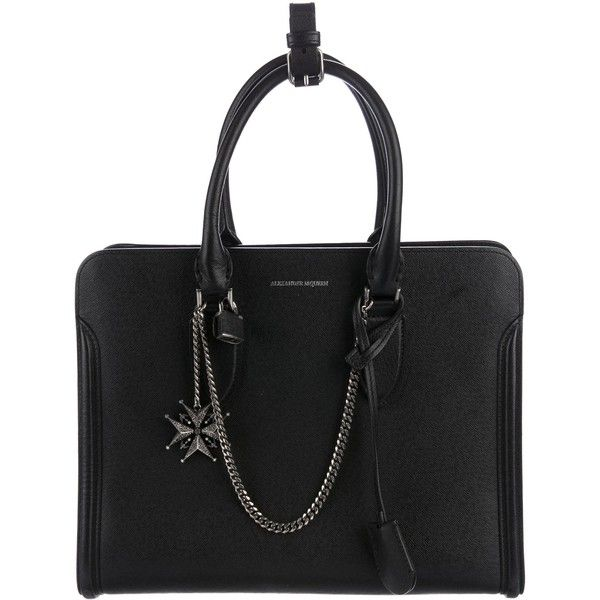 Pre-owned Alexander McQueen Small Skull Padlock Satchel ($745) ❤ liked on Polyvore featuring bags, handbags, black, leather satchel, genuine leather purse, genuine leather handbags, leather skull purse and skull purse