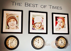 Hang pictures of your child with a clock underneath stopped at the time they were born; too cute!