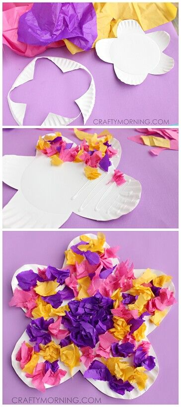 http://www.craftymorning.com/paper-plate-flower-craft-using-tissue-paper/