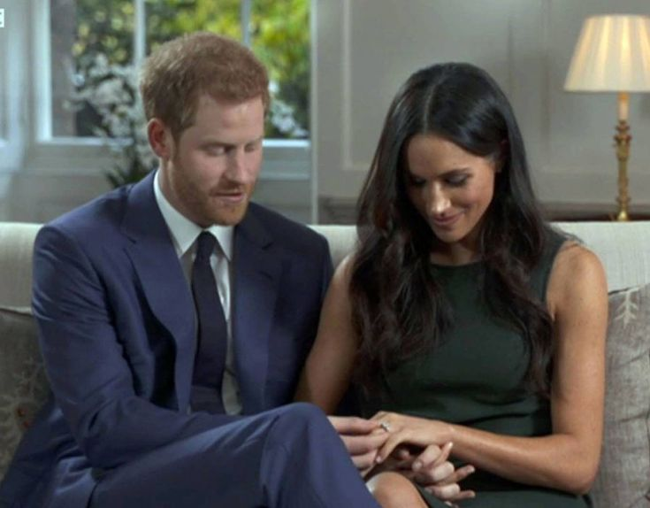 Prince Harry and Meghan Markle after the announcement of their engagement