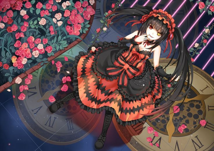 date a live bicolored eyes black hair boots bow chain choker date a live dress flowers greetload long hair petals red eyes tokisaki kurumi twintails yellow eyes
