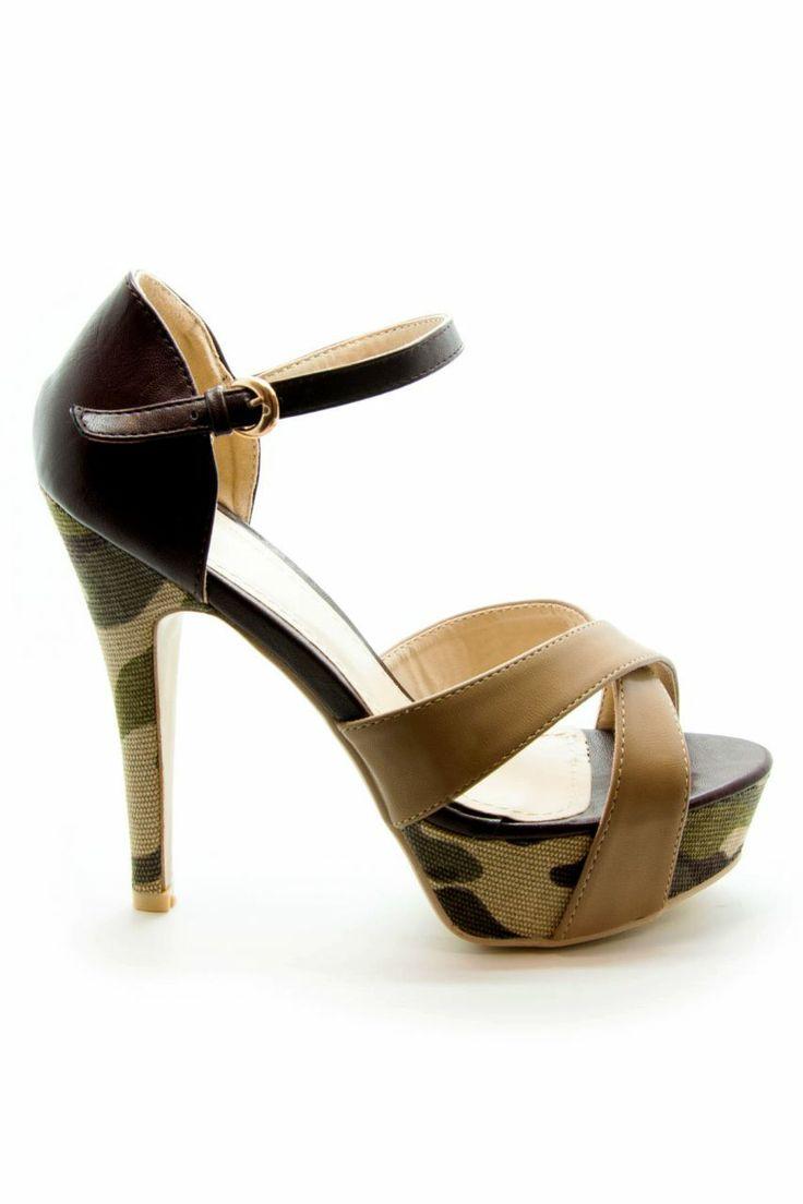 Bej - Kamuflaj Platform Topuklu Ayakkabı | En Yeni En Şık Kamuflaj Topuklu Ayakkabı Modelleri | Trendy Topuk | Topuklu Ayakkabı | 150 TL ve üzeri alışverişlerinizde Kargo ücretsiz