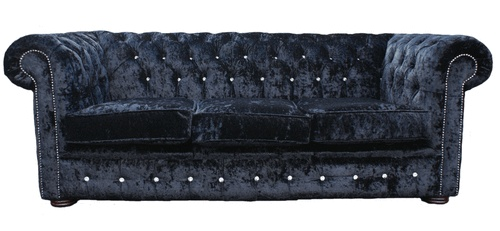 Chesterfield 3 Seater Sofa Settee Crystal Diamante Diamond Black Velvet Sofa | eBay