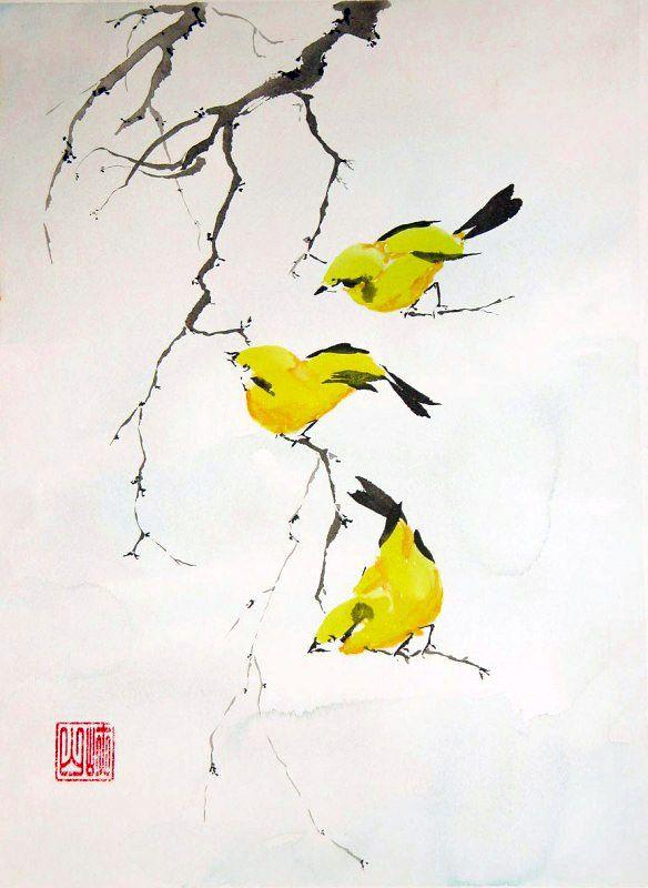 Three Yellow Finches - WetCanvas