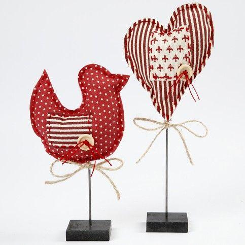 Bird and heart, fabric
