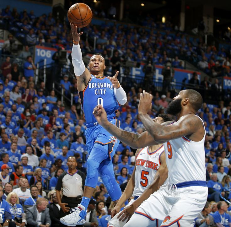 Oklahoma City's Russell Westbrook (0) goes to the basket during an NBA basketball game between the Oklahoma City Thunder and the New York Knicks at Chesapeake Energy Arena in Oklahoma City, Thursday, Oct. 19, 2017. Photo by Bryan Terry, The Oklahoman
