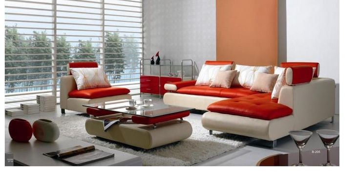 VIG Divani Casa B205 White and Red Leather Sectional Sofa Set
