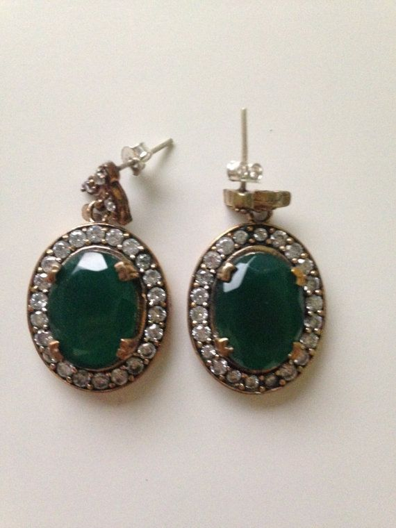 High Quality Turkish Emerald Topaz 925K Sterling Silver Earring