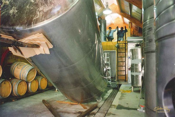 One of our #wine tanks getting installed back in the early '90s. #pinotnoir #gibbstonvalley