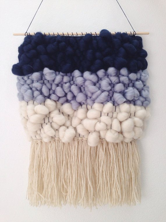 This is my favorite woven roving piece so far! This hand woven wall hanging is wide & long with all pure wool roving from navy blue & light blue to