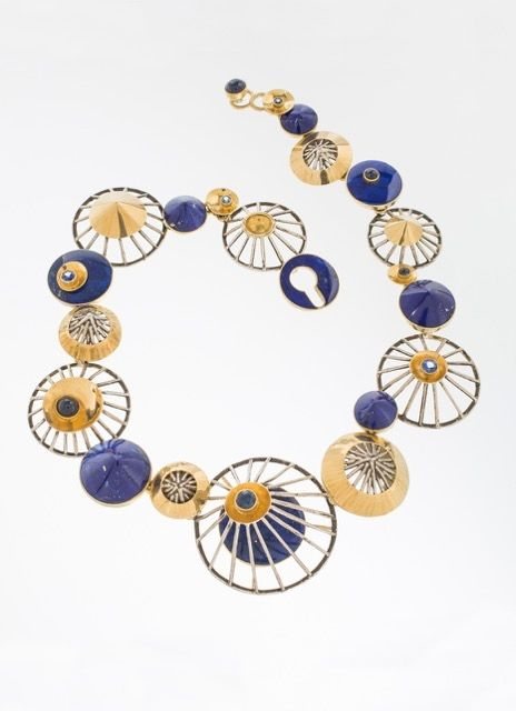 JEFF & SUSAN WISE NECKLACE 22K gold, 18K gold, sterling silver, sapphire cabochons, faceted sapphires