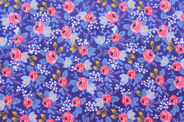 Cotton and Steel Fabric, Rifle Paper Co., Les Fleurs, Rosa, Periwinkle, RJR, Floral Fabric, Cotton, Navy Blue, Half Metre by TwoChubbyRabbits on Etsy