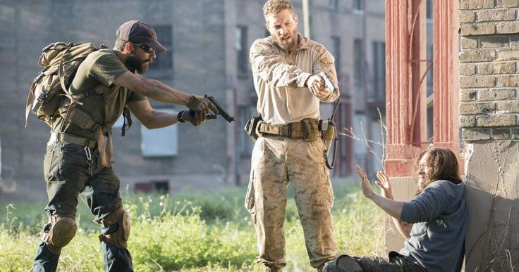 First Look at Shia LaBeouf and Jai Courtney in 'Man Down' -- Shia LaBeouf and Jai Courtney are seen pointing their guns at Clifton Collins Jr. in the first photo from 'Man Down'. -- http://www.movieweb.com/man-down-movie-photo-shia-labeouf-jai-courtney