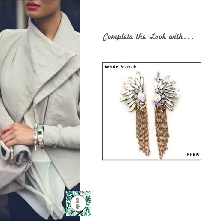 Ref: BI009 White Peacock Medidas: 8.3 cm x 3 cm  So Oh: 9.99  #sooh_store #onlinestore #style #inspiration #styleinspiration #brincos #earrings #fashion #shoponline #aw2016 #aw1617 #winterstyle