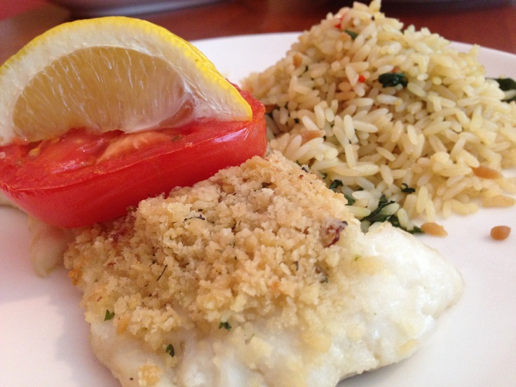 Anna's Baked Boston Scrod.   [Fish school question: what's 'scrod'?]