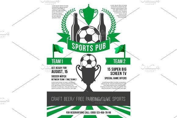 Vector poster for soccer sports pub #soccer #football