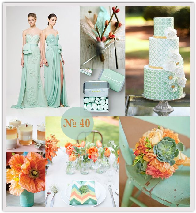 Mint green #wedding, #mint and #orange wedding. I know your theme isn't mint but look how that orange pops