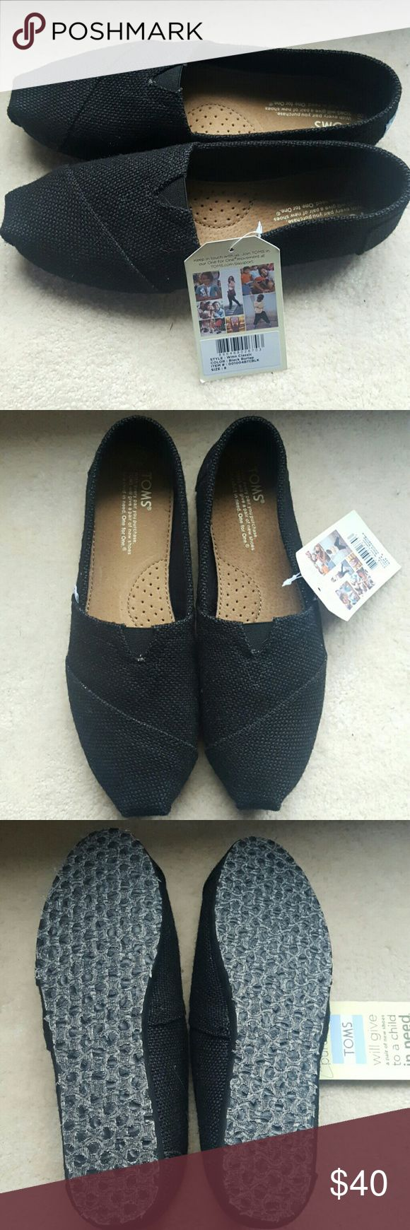 Black Burlap Toms Slipons NWT Size 8 black Burlap Toms, New With Tags, Never Worn TOMS Shoes Flats & Loafers