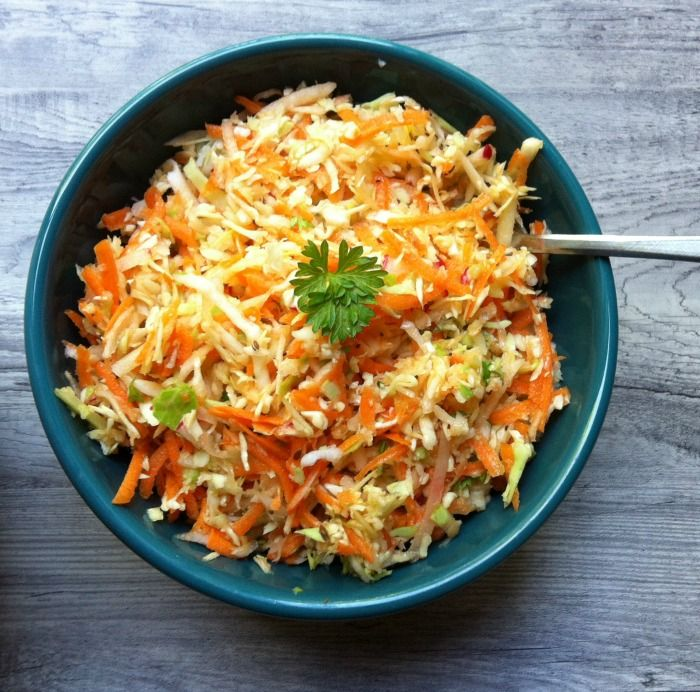 Healthy Coleslaw Recipe with Cabbage, Carrots & Radishes and topped with a light dressing // A Cedar Spoon