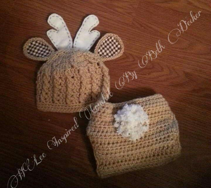 Custom Handmade Crochet deer hat with antlers and diaper ...