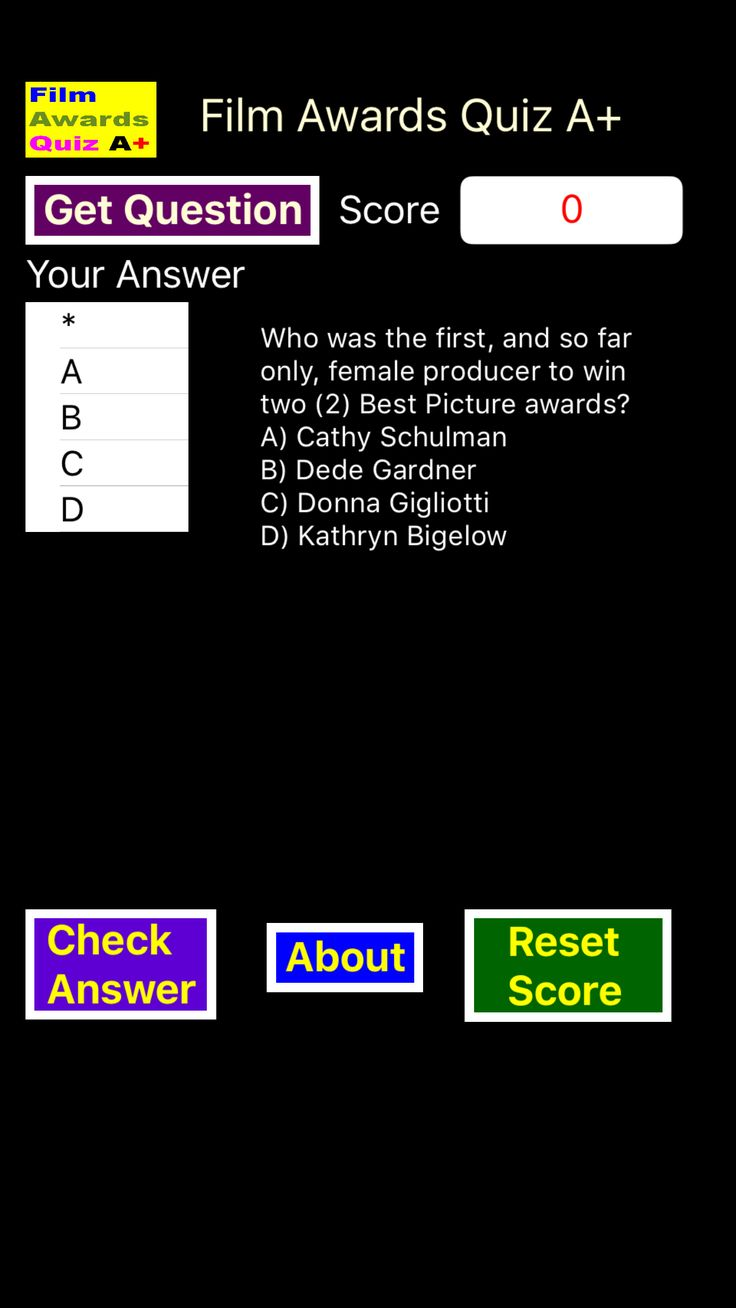The Film Awards Quiz A+ contains over 260 questions covering Oscar nominated movies and actors.  You will become as familiar with early names such as Olivier and Davis as you may already be with modern ones such as Pitt or Streep, and discover that Streep is not the only actor to have double-digit nominations. http://effectivefirearms.com/app.html has links to all major app stores.