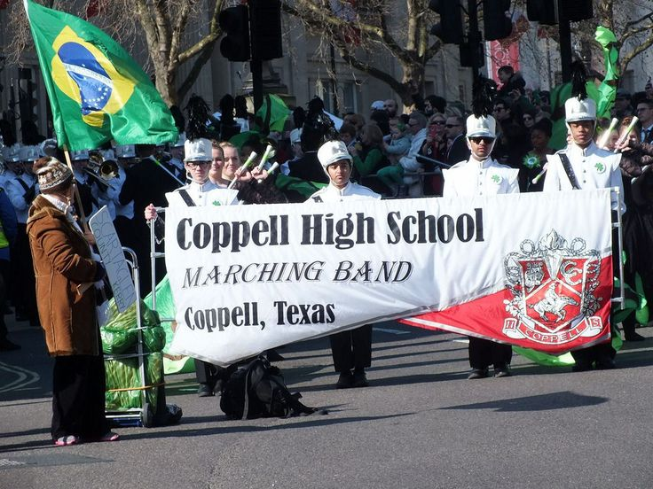 https://flic.kr/s/aHsktB51wK | Coppell High School - Marching Band | At The St Patrick's Day Parade - Trafalgar Square - London  All the way from Coppell, Texas.