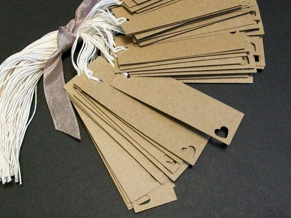 Items similar to Kraft Tags. Small Rectangle with heart. rustic wedding tags  on Etsy