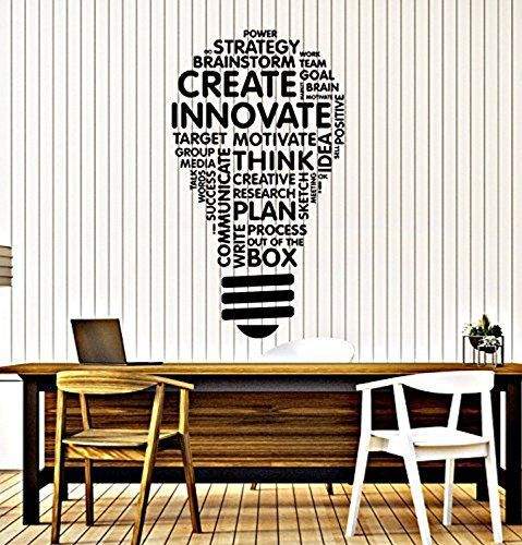 home business office - vinyl wall decal lightbulb inspire words