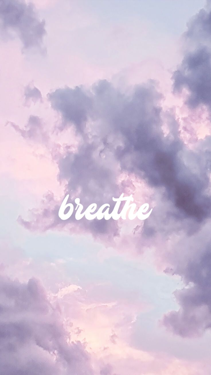 Breathe Positive Purple Clouds Sky Wallpaper Background Iphone Pretty Android Breat Aesthetic Iphone Wallpaper Iphone Background Aesthetic Wallpapers