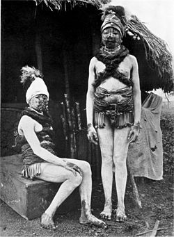 Sande society initiates marked with white clay and animal fat, called Hojo or Wojeh.