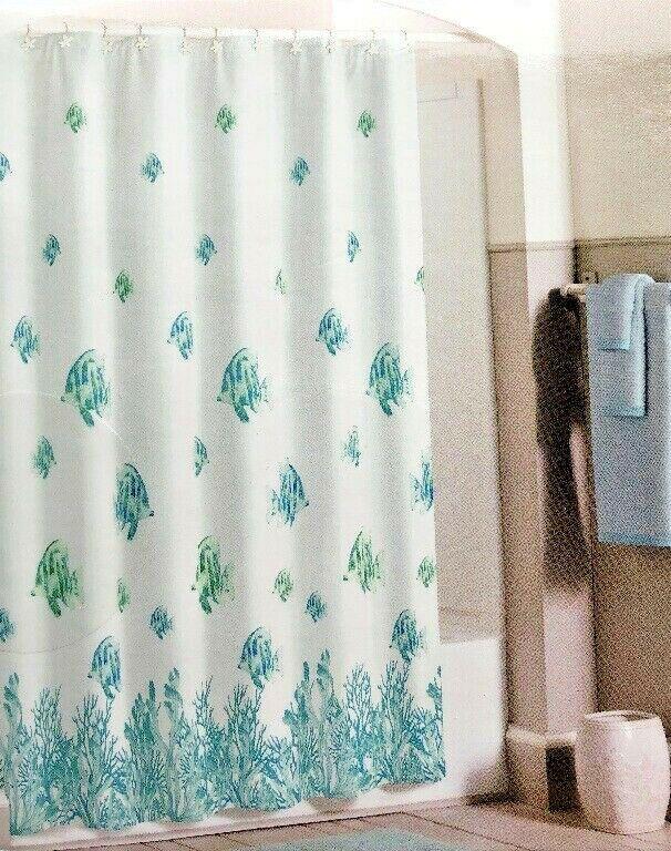Tahiti Fish Fabric Shower Curtain Coastal Nautical Beach Summer