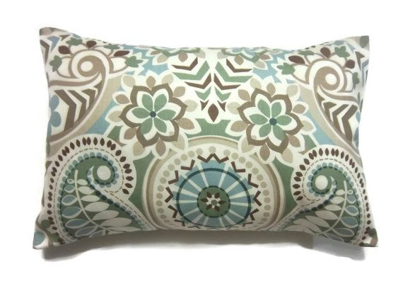 Decorative Pillow Cover Sage Green Blue Taupe Brown Lumbar Throw Toss Accent Paisley Damask Same Fabric Front/Back 12×18 inch. Generously