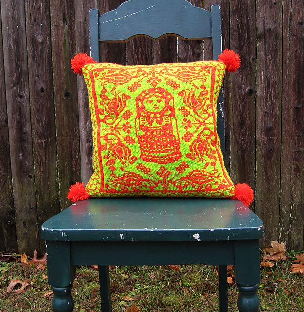 Ravelry: Folkloric Fair Isle Matryoshka Pillow pattern by Betsy Farquhar // I think I need this neon pillow for when I moves!!