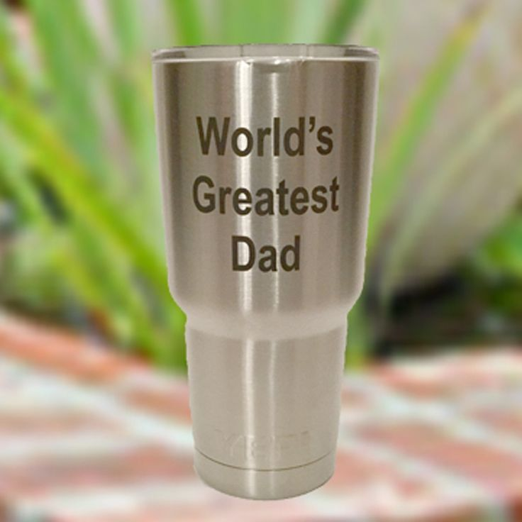 SHIPS TODAY with 2 Day Delivery - World's Greatest Dad authentic YETI Rambler tumblers 30 oz custom personalized with optional with name in block on opposite side - Order by 1 pm CST. Give dad a great gift for Fathers Day with this World's Greatest Dad 30 oz YETI Rambler tumble, engraved with his name on the opposite side if you'd like. We will personalize your tumbler using our precision laser technique. It will be in black, as shown in the picture. No other colors are available with…