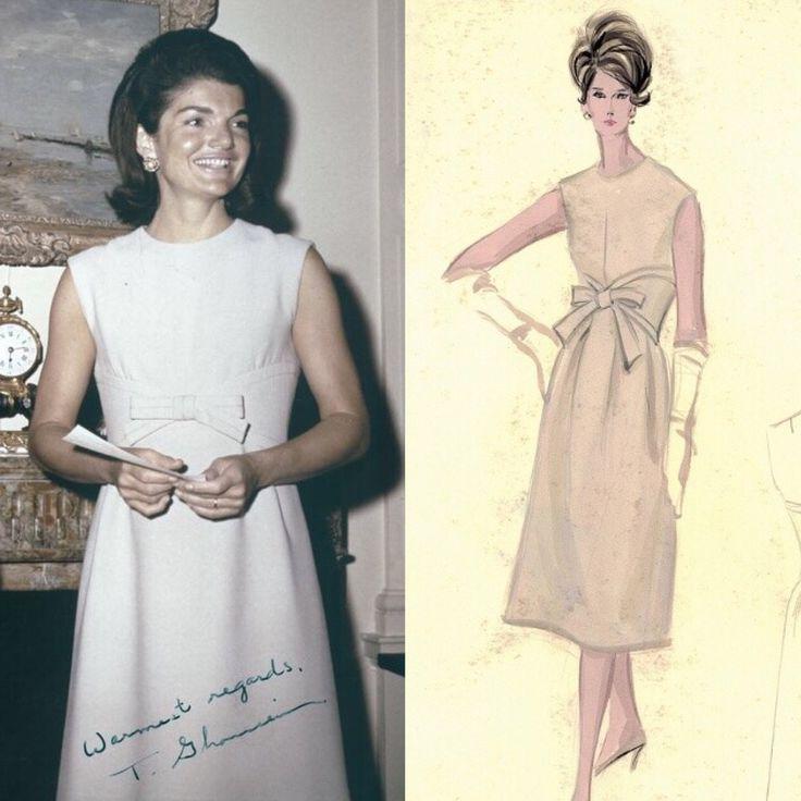Jackie Kennedy wearing a Nina Ricci dress around 1964-66
