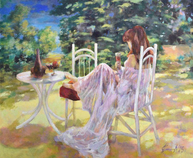 Александр Елисеев. В тенистом саду, 2015   Холст, масло, 100х120, +багет